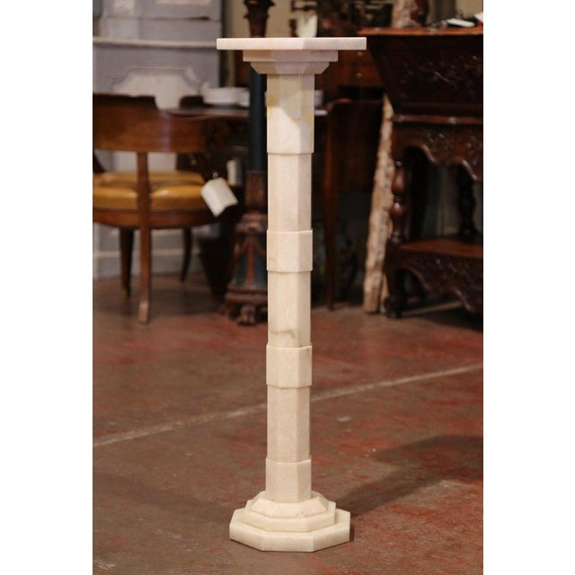 1920s Early 20th Century French Carved Beige Marble Pedestal Table With Swivel Top For Sale - Image 5 of 7
