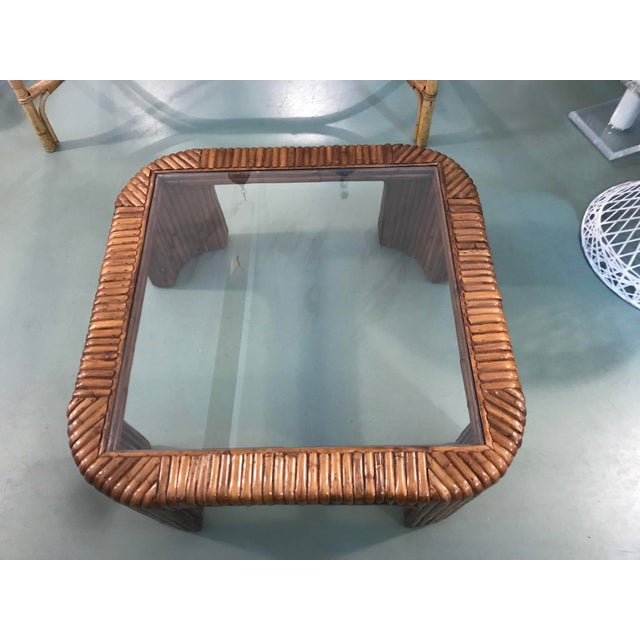 Boho Chic Split Reed Rattan Waterfall Coffee Table For Sale - Image 3 of 8