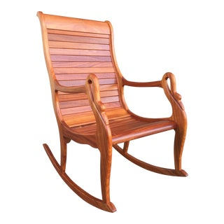 Solid Cherry Wood Rocking Chair For Sale