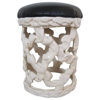 1970s Hollywood Regency Black and White Ribbon Stool For Sale