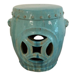 Early 21st Century Chinese Light Turquoise Ceramic Drum Garden Stool For Sale