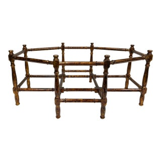 20th Century Chinoiserie Faux Bamboo Wood Tortoise Finish Octagonal Coffee Table Base For Sale