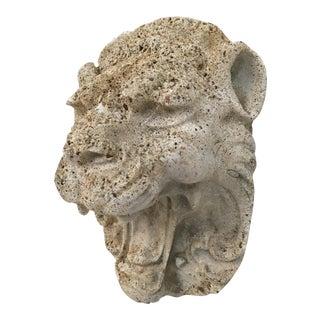 Vintage Concrete Lion Head Garden Plaque