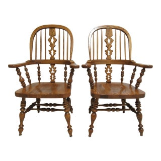 1980s Vintage Ethan Allen Windsor Back Dining Chairs - A Pair