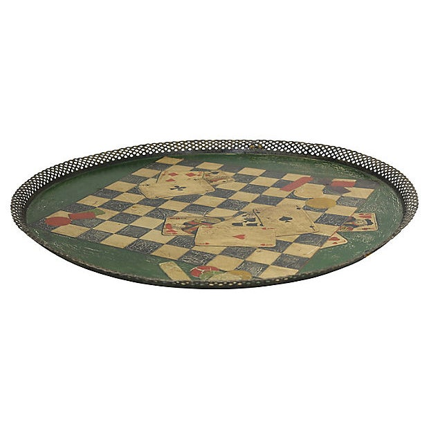 Unusual French tole tray with lattice edge and gaming motif. No maker's mark. Light wear, crackling.