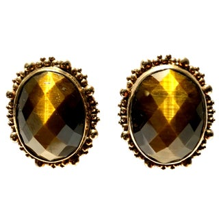 1980's Stephen Dweck Sterling 925 Silver Vermeil and Tiger's Eye Earring For Sale