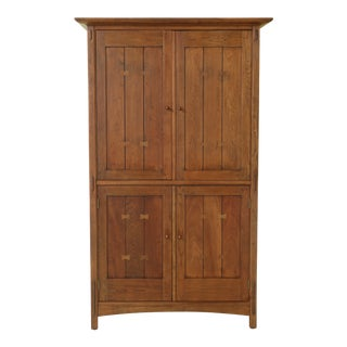 Stickley Arts & Crafts Mission Cherry Tv Armoire For Sale