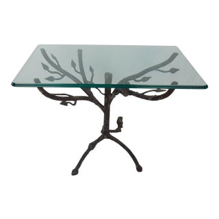 Giacometti-Style Glass-Top Owl Side Table For Sale