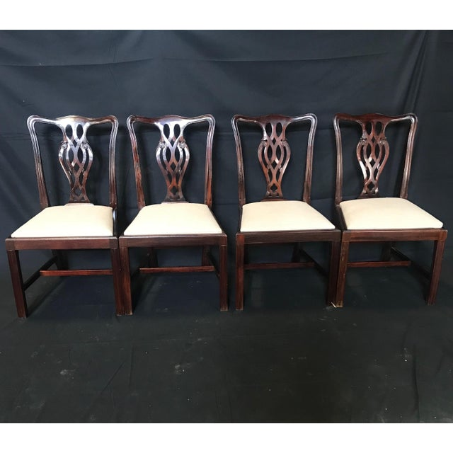 Brown 19th Century Antique English Mahogany Chippendale Style Dining Chairs-Set of 6 For Sale - Image 8 of 13
