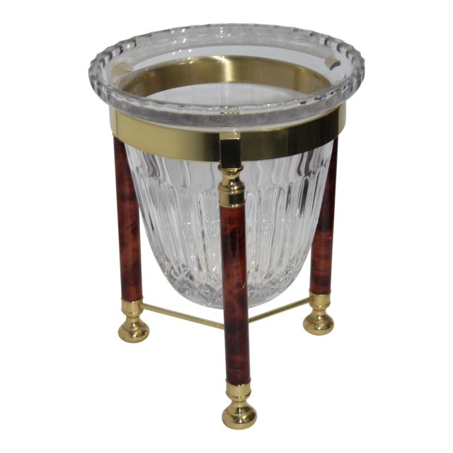 Champagne Bucket Crystal on Faux Marble & Brass Stand 1980s by Design Guild For Sale