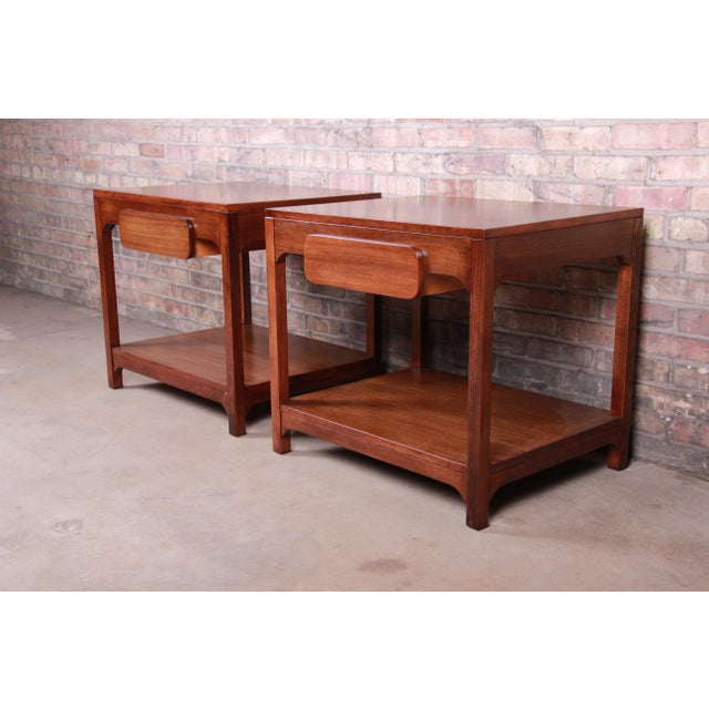 Mid-Century Modern Edward Wormley for Drexel Precedent Mid-Century Modern Nightstands or End Tables, Newly Refinished For Sale - Image 3 of 13
