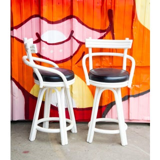 Kalp-Son Rattan Co. Mid-Century Modern White Bentwood and Leather Bar Stools - a Pair Preview
