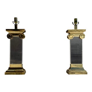 Pair of Neoclassical Lucite & Brass Ionic Column Table Lamps Restoration Hardware Shades For Sale