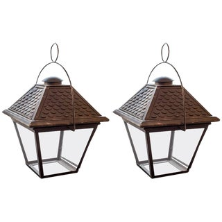 Pair of French 20th Century Lanterns, Wired for Us Specifications For Sale