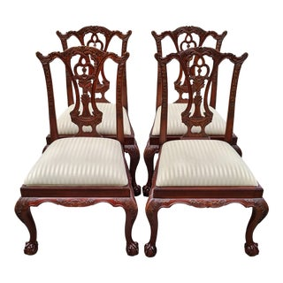 Vintage Maitland Smith Chippandale Carved Mahogany Dining Chairs- Set of 4 For Sale