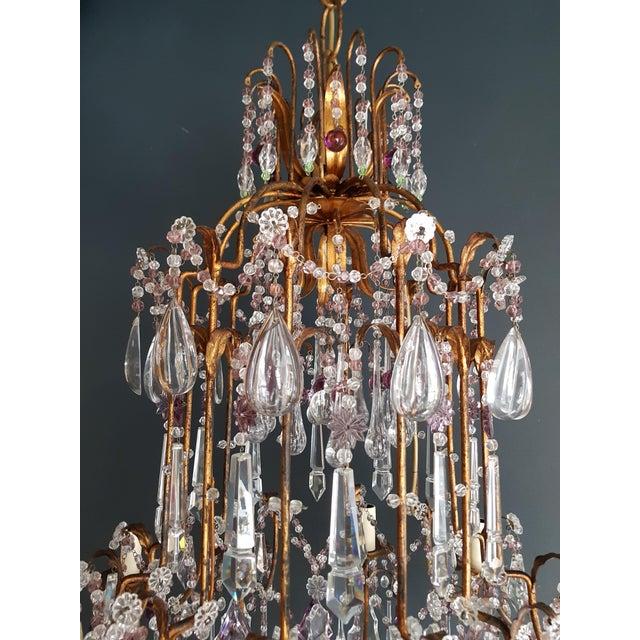 Gold Crystal Chandelier Antique Ceiling Lamp Murano Florentiner Lustre Art Nouveau Purple For Sale - Image 8 of 11