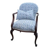 "Image of Antique ""Blue WIllow"" Striped Chair For Sale"