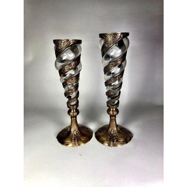 Metal Mid-Century Indian Brass Goblet Candle Holders - a Pair For Sale - Image 7 of 7