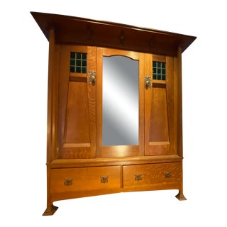 Arts & Crafts Oak Armoire With Tall Mirror, Drawers and Colored Glass Panels For Sale