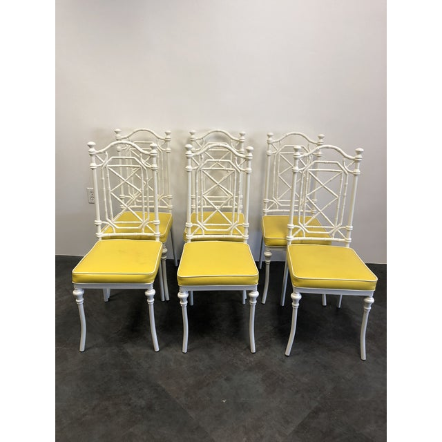 Asian 1960s Vintage Kessler for Thomasville Iron Bamboo Chairs - Set of Six For Sale - Image 3 of 12
