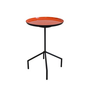 1980s Mid-Century Modern Iron Enamel Side Table For Sale