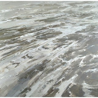 "Beckham Oil Painting, ""Ebb and Flow"", Contemporary Gray and White Large Seascape For Sale"
