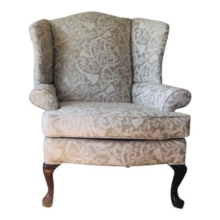 Greige Damask Queen Anne Wingback Chair For Sale