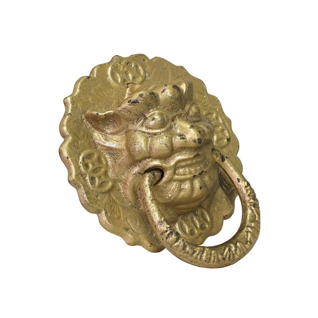 This is a metal matte golden color finish lion head shape display Pull Handle Accent. Dimensions: Dia 7 x length 8 Origin:...