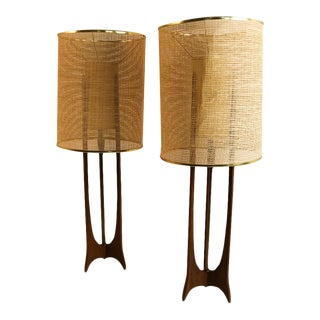 Pair Mid Century Modern Walnut Lamps Adrian Pearsall Style For Sale