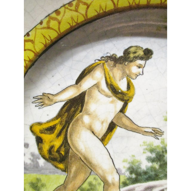 Majolica Late 19th Century Italian Majolica Hand Painted Semi Nudes Impressed Ad Charger For Sale - Image 4 of 13