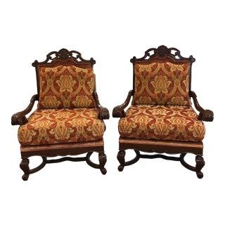 Wood Framed Velour Armchairs - A Pair