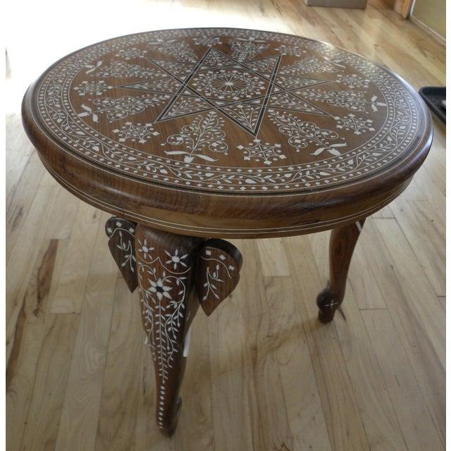 Vintage Ebony Bone Inlaid Elephant Indian Teak Table Chairish