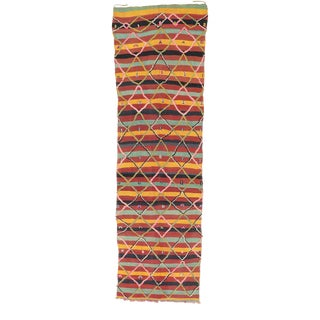 Vintage Berber Moroccan Souf Kilim Rug With Modern Cabin Style - 04'03 X 15'01 For Sale