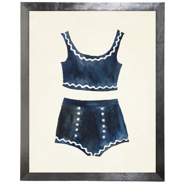 Blue Bikini with White Accents Watercolor Print in flat wide silver