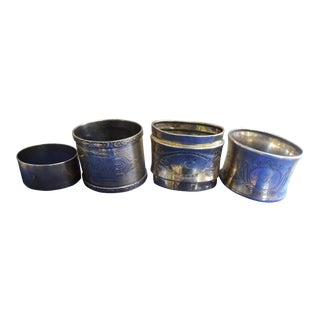 Late 19th Century Traditional Antique Sterling Silver Napkin Rings - Set of 4 For Sale