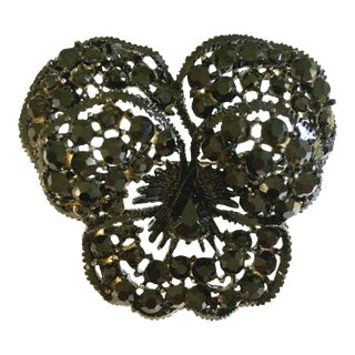 """1960's Vintage Weiss """"Japanned"""" Austrian Crystal """"Butterfly"""" Brooch For Sale"""