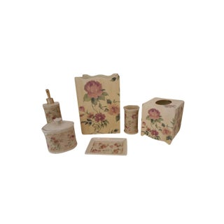 French Floral Bathroom Wastebasket Tissue Box - Set of 6 LAst Call For Sale