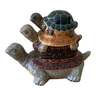 Vintage Triple Turtle Trinket Box For Sale