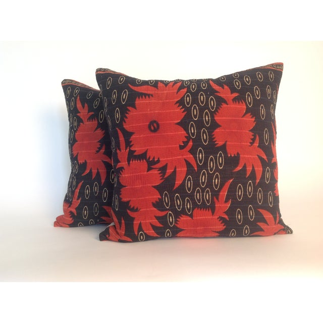 Pair of Indian Vintage Block Printed Kantha Quilt Pillows with natural linen back. Inserts included