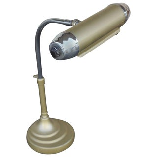 Enamel and Chromium Streamline Bankers Desk Lamp For Sale
