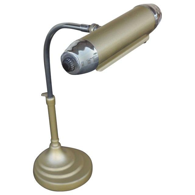 Enamel and Chromium Streamline Bankers Desk Lamp - Image 1 of 6
