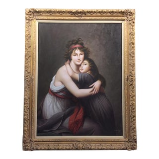 Mother and Daughter Signed Portrait Painting For Sale