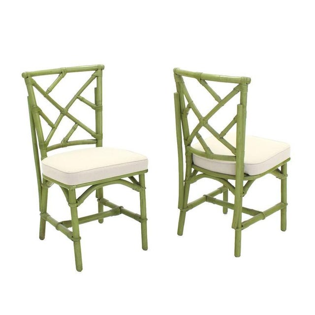 Early 20th Century Square Game Table and Four Chairs Green Faux Bamboo Rattan For Sale - Image 5 of 11