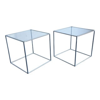 1960s Danish Modern Poul Cadoviuss Chrome and Glass Cube Accent Tables - a Pair For Sale