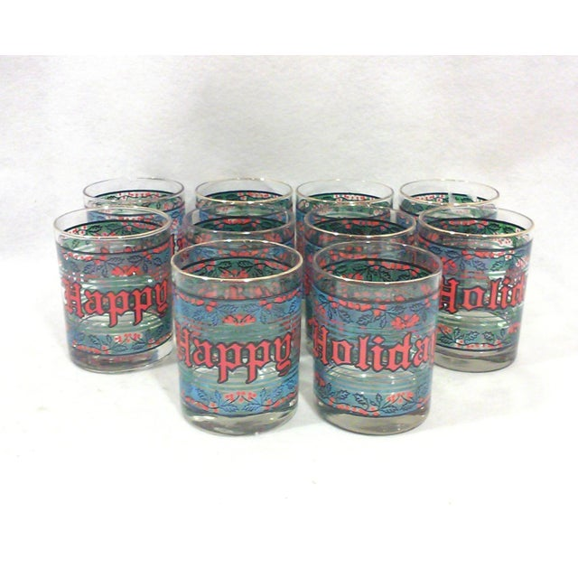 Vintage Happy Holidays Rock Glasses - Set of 12 - Image 2 of 5