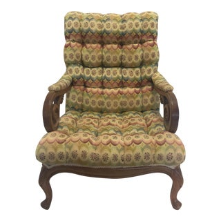 Tufted Slant Back Chair For Sale
