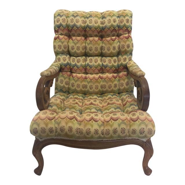 Tufted Slant Back Chair For Sale