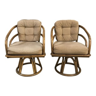 Vintage Boho Chic Rattan Swivel Chairs - a Pair For Sale
