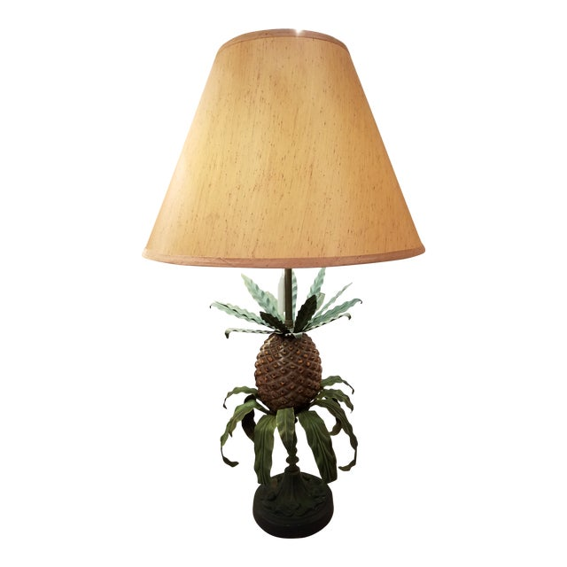 Vintage Green and Brown Tole Pineapple Lamp For Sale
