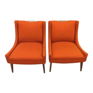 A Pair Midcentury Orange Club Chairs For Sale